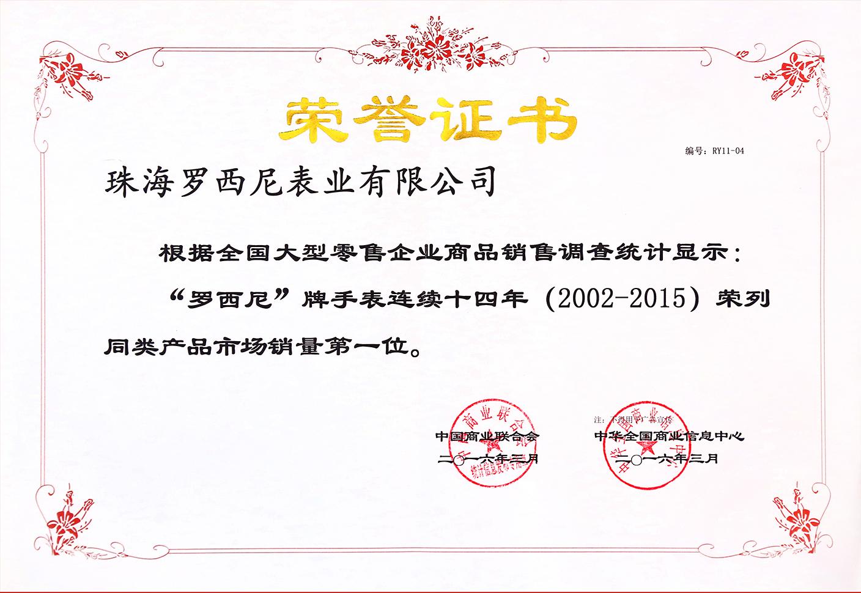销量新高连获殊荣  罗西尼领跑2015年华表市场
